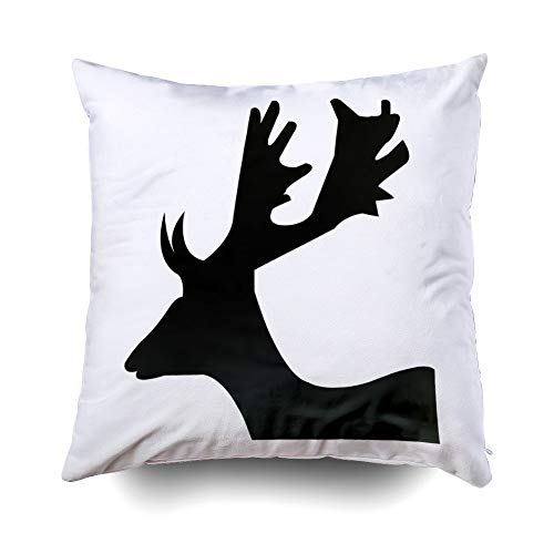 GROOTEY Decorative Cotton Square Pillow Case Covers with Zippered Closing for Home Sofa Decor Size 20X20 Inch Costom Pillowcse Throw Cover Cushion Halloween Deer Head Silhouette Clip Art White ()