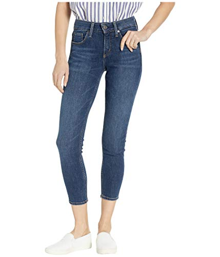 Silver Jeans Co. Women's Avery Curvy-fit High Rise Skinny Crop, Dark Sandblast, 28W x 25L