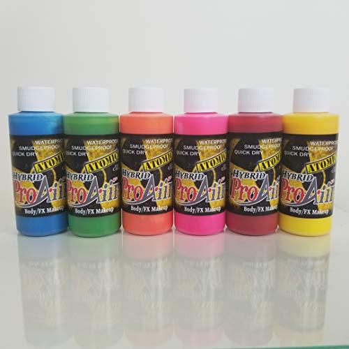 Face Painting Makeup - ProAiir Waterproof Makeup - Set of 6 Atomic UV Colors - 2.1 oz (60ml) for $<!--$101.00-->
