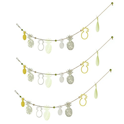 Roser Life Pineapple Garland Banner Handmade Boho Home Party Decor Accents Wedding Bridal Baby Shower Nursery Kids Teepee Tent Decorations Yellow Green (Pack of - Yellow Engagement Curves