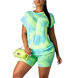 KOOBETON Women Casual 2 Piece Shorts Set Tie Dye Colorful Shirt Tracksuit Outfit