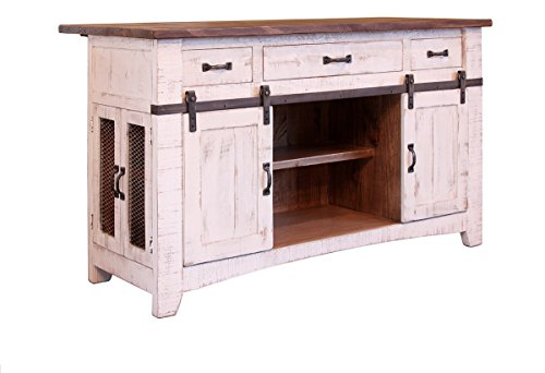 (Burleson Home Furnishings Anton Farmhouse Solid Wood Distressed White Sliding Barn Door Kitchen Island with Storage and Rolling Casters)