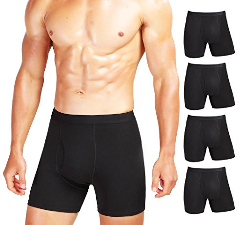(Comfneat Men's Comfy Boxer Brief 5-Pack Tagless Underwear Soft Stretchy Cotton Spandex (Black Pack-5, XL))