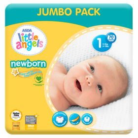 ASDA Little Angels Newborn Nappies Size 1 Big Saver Pack