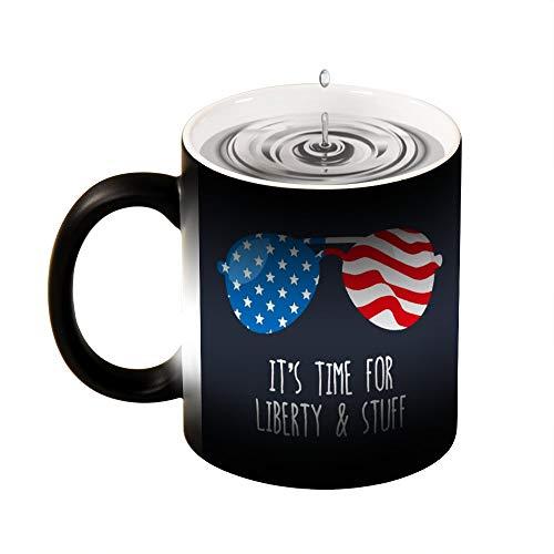 Welkoom Color Changing Coffee Mug Cup, Personalized Funny 4Th Of July Shirt Liberty And Stuff Diy Print Coffee Color Change Mugs Birthday Christmas Gift