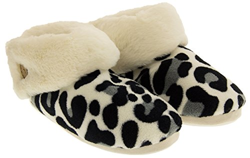 Inverno Inverno Donna Leopardato Bianco Stivali Pantofola vppBSW
