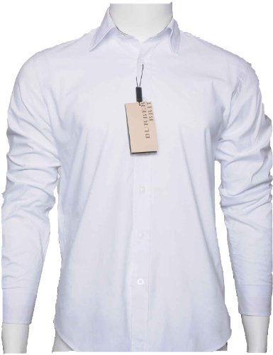 Burberry Brit Men's White Henry Trim Fit Stretch Cotton Logo Sport Shirt - Burberry Logo Brit