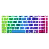 """Silicone Keyboard Cover Skin for for 15.6"""" HP Pavilion x360 15-br075nr, Pavilion 15-cc 15-cb series 15-cc010nr 15-cb010nr, HP ENVY x360 15m-bp 15m-bq series, HP ENVY 17.3"""" 17m-ae011dx (Rainbow)"""