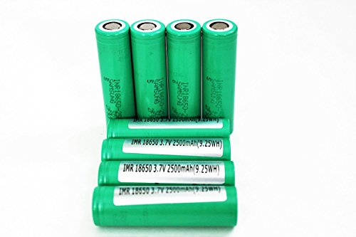4 INR18650-25R 18650 Samsung Cells 2500mAh 3.7v Rechargeable Flat Top Batteries- Includes GMT Safety Cases for Easier Storage and Transport Bonus 2 Free Cases