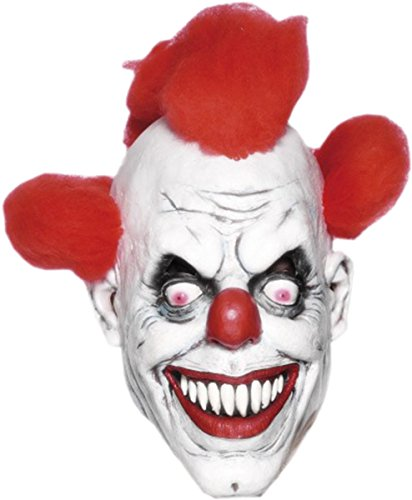 Men Halloween Fancy Party Circus & Clown 3/4 Mask With Hair Red & White Clown 3/4 Mask