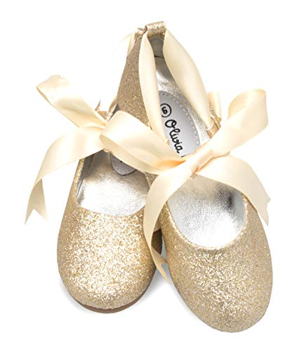 (OLIVIA K Girls Adorable Ballerina Mary Jane Flats Ribbon Tie Shoes )
