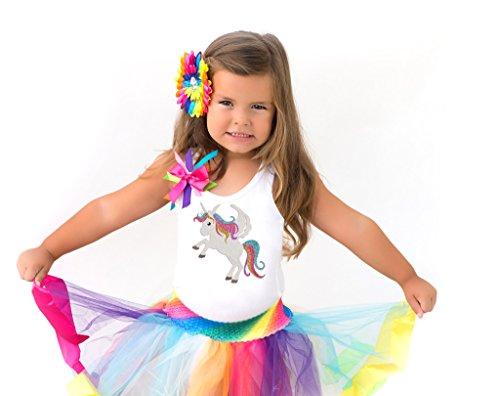 Bubblegum Divas Little Girls Unicorn Shirt Rainbow Tutu Birthday Gift Set 4pcs