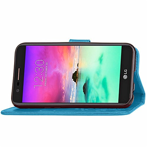 SRY-case Para LG K10 2017, Con una ranura de tarjeta, hebilla magnética Clover Flat Open The Phone Shell ( Color : Purple ) Blue