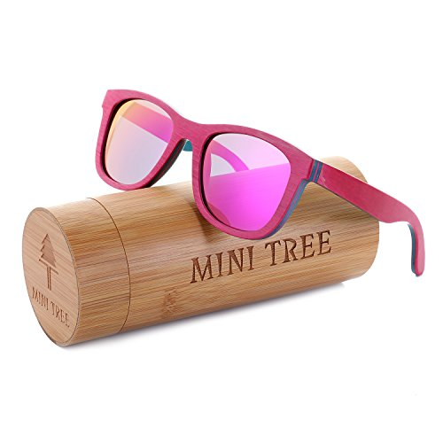 (Mini Tree Women Skateboard Wood Sunglasses Polarized Men Sun Shades with Bamboo Case (Pink, Pink))