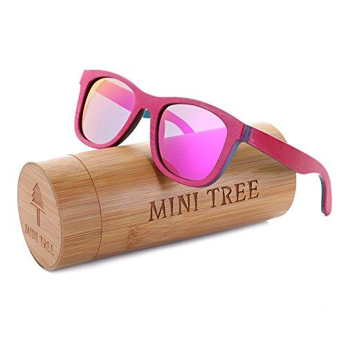 Mini Tree Women Skateboard Wood Sunglasses Polarized Men Sun Shades with Bamboo Case (Pink, Pink) ()