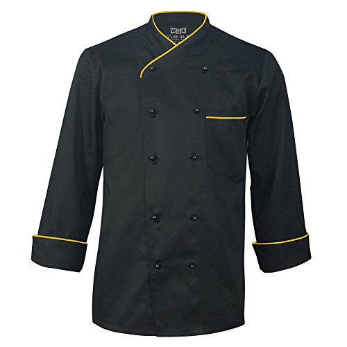 10oz Apparel Long Sleeve Black Chef Coat with Gold Piping M by 10oz apparel