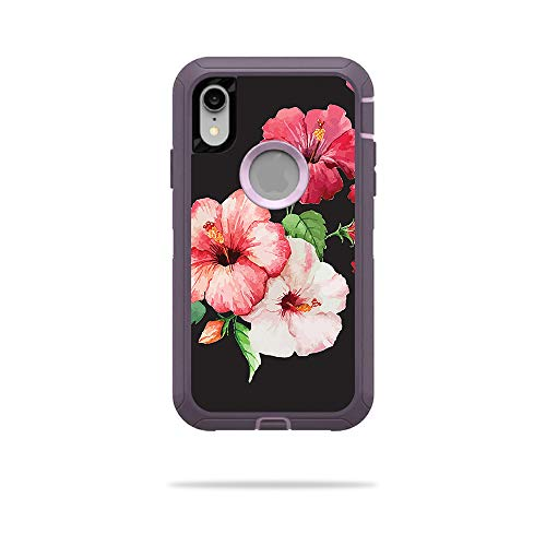 MightySkins Skin Compatible with OtterBox Defender iPhone XR Case - Hibiscus | Protective, Durable, and Unique Vinyl Decal wrap Cover | Easy to Apply, Remove, and Change Styles | Made in The USA