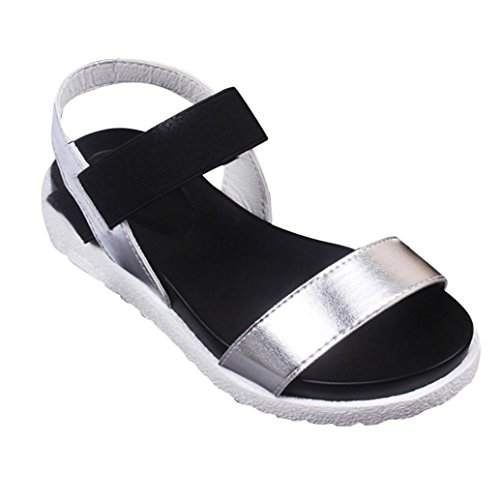 Damen Sandalen, SHOBDW Damen Sommer Sandalen Schuhe Peep-Toe Low Schuhe Römische Sandalen Damen Flip Flops Silber