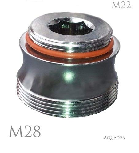 Aquadea M22 x M28 AG Chrome Bath Tap Adaptor Aesthetically Curved Design for Aerator Thread To Join Aquadea Water-Spinner or Filter