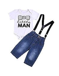 i-Auto Time Baby Boy Clothes Little Man Romper+Suspenders Denim Pants Outfit Set