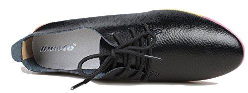 Kunsto Kvinna Läder Casual Oxford Skor (upp Till 60% Rabatt) Svart
