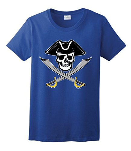 Price comparison product image Funny Pirate Gift Pirate Jolly Roger Captain Skull Crossed Swords Ladies T-Shirt Small Royal