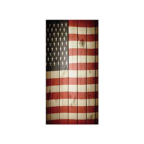 3D Decorative Film Privacy Window Film No Glue,American Flag Decor,USA Flag Over Vertical Striped Wooden Board Citizen Solidarity Kitsch Art,Blue Red,for Home&Office