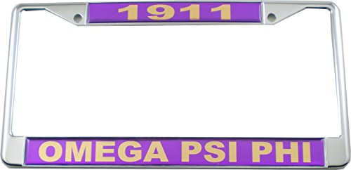 Cultural Exchange Omega Psi Phi 1911 Domed License Plate Frame [Silver - Car/Truck]