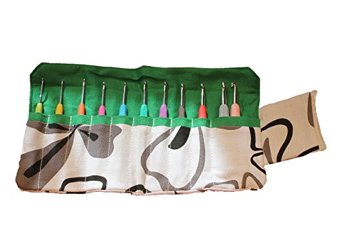 Sparkling Pumpkin 11 Piece Crochet Hooks Soft Handles & Easy Grip with Ergonomic Handles in a Green Floral Canvas Case