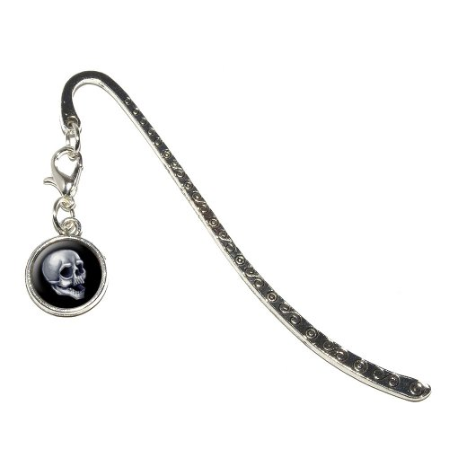 Graphics and More Skull - Death Skeleton Halloween Metal Bookmark Page Marker with Charm (Halloween Bookmark)
