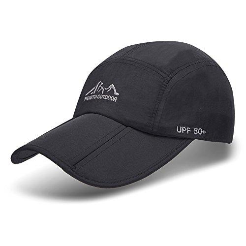 - JOSENI Outdoor Quick Dry Sun Hat Folding Portable Unisex UV SPF 50+ Baseball Cap (A1-Black)