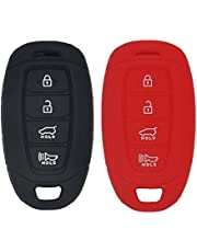 WEIBISS 2 Pack 4 Buttons Soft Silicone Rubber Remote Keyless Protector Case Key Fob Cover Protector Holder Jacket for Hyundai Kona Azera Grandeur IG