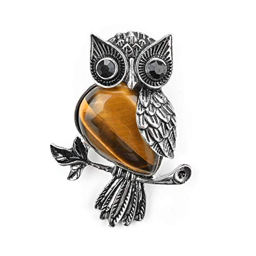 - Top Plaza Womens Antique Cute Owl Brooch Pin Breastpin Wedding Banquet Bouquet Tiger Eye Stone Healing Crystal Broochpin Safety Lapel Scarf Pin