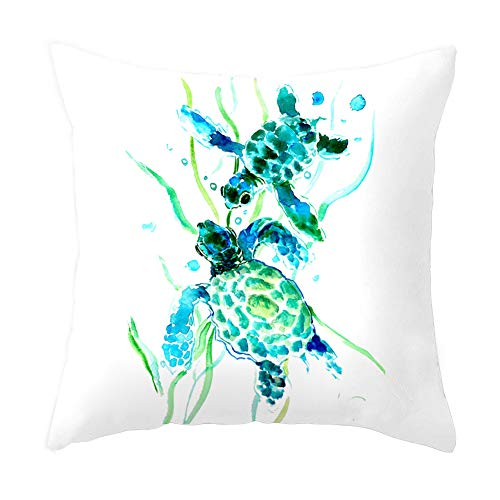 Sea Turtle Throw Pillow Cover Summer Ocean Theme Decor Cushion Case Super Soft Square Decorative Pillow Covers for Home Sofa Couch 18