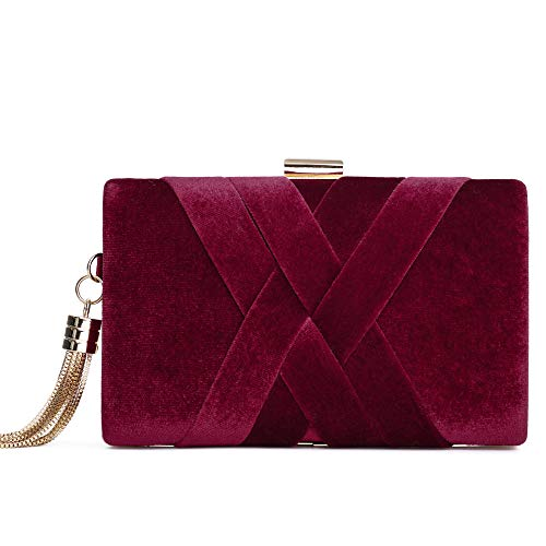 (Women's Evening Clutch Bag Stain Fabric Bridal Purse For Wedding Prom Night Out Party Maroon)