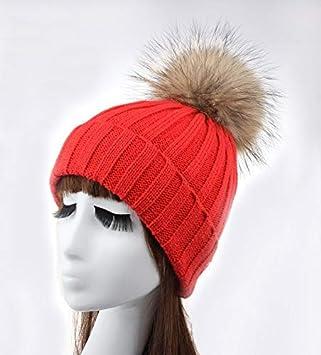 Chapeau chaud Surdimensionné 15cm vrais chapeau de balle poilue adulte chaud bonnet de laine chapeau bonnet (Couleur: bleu ciel) pour cadeau (Couleur : Beige)