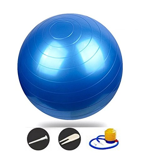 Star-Art Anti Burst Exercise / Stability / Yoga / Fitness Ball - 55 and 75 CM - with Foot Pump / Plug / Plug remover tool (Blue, 65 cm)