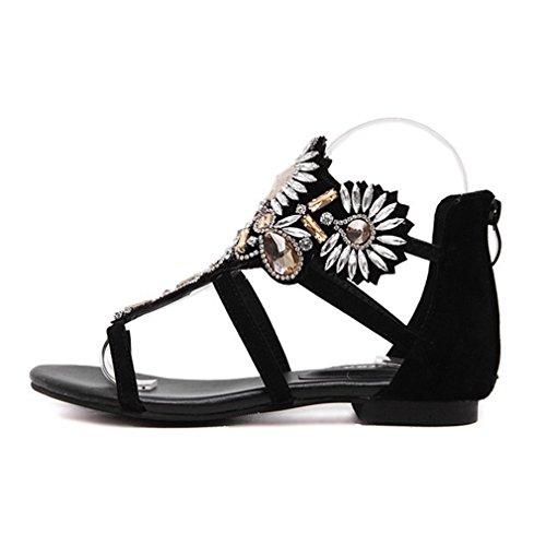 Sandali Da Donna Bohemian Romani Neri Di Moda Cybling Per Le Scarpe Da Spiaggia Con Cinturini Neri