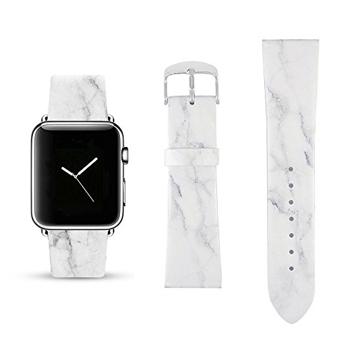 White Marble Replacement Band Compatible for iWatch 38mm/40mm Pastel Bay Wrist Band PU Leather Strap for Apple Watch Smartwatch Series 4 3 2 1 ()