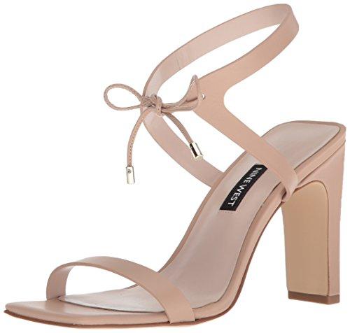 Nine West Women's Longitano Leather Heeled Sandal, Light Natural Leather, 6.5 Medium US