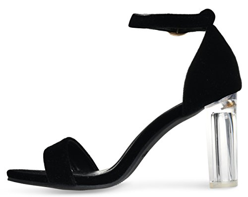 Toe High With Sandals Black Heel Velvet Women's Block Heel Ankle Open Strap Clear Covered Chunky pC7xqx5Xw