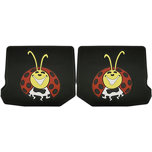 """Vw Bug / Beetle Lady Bug Rubber Floor Mats, Rears Only, Pair. Help Protect Your Interior Floors with Thick Rugged Floor Mats. A Real """"Blast From the Past""""! Durable Floor Mats with Colorful Lady Bug Logo. Fits Volkswagen Bugs All Years."""