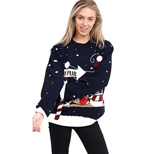 Femmes Nouveau Noël Pour The Hommes Rudolph Manchot 3xl Elfe Pub Navy over Pom To Pull Renne Par Pull Vintage Père Fabriqué S Rétro Fantaisie Purl 4E0pqIwtx