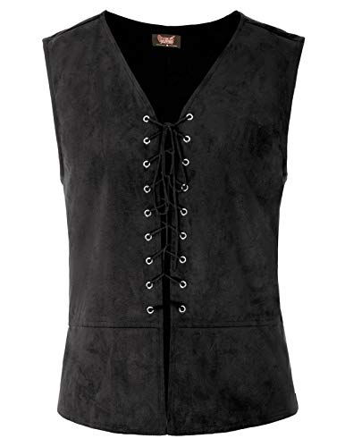 SCARLET DARKNESS Mens Vest Waistcoat Gothic Steampunk Renaissance Tailcoat Black -