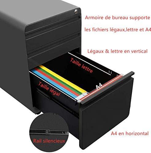Verrouillable Classeur 5 Roues 40x50x 62cm Rangement Dossier,Meuble Armoire de Bureau Noir Dripex Caisson de Bureau
