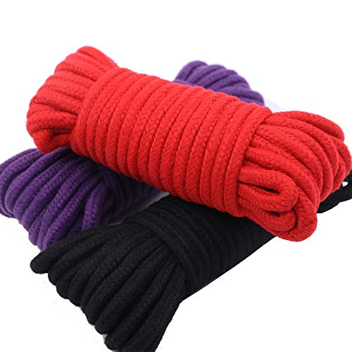 Renashed 3 Pack 32 Feet 10M All-Purpose Soft Twisted Cotton Braided -Knot Tying Rope (Black, Red, Purple) by Renashed