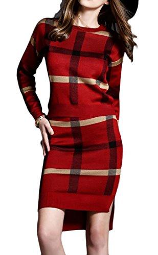 Party Sleeve Women's Plaid Red Jaycargogo Slim Dress Fit Bodycon Sets Long Ugq0Ufnw