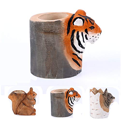 uhmhome Handmade Pen Pencil Holder Cup Cute Wood Desk Organizer Storage Box Makeup Brush Holder Kitchen Utensil Holder Ornament Animal Pattern for Home and Office (Tiger)
