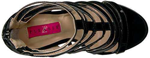 Dream-438 Lack Sandale Stiefeletten mit Riemen und Ferse schwarz - (EU 44 = US 13) - Pleaser Rosa-Aufkleber