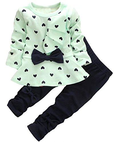 Kids Long Sleeves Cute Heart Pattern T Shirt Tops with Bow Tie + Pants Set 2 Pieces Outfit Suit for Toddler Baby & Little Girls, Green, Age 2T-3T (2-3 Years) = Tag 100
